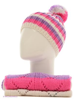 Шапка+шарф Marhatter. Цвет: белый, розовый