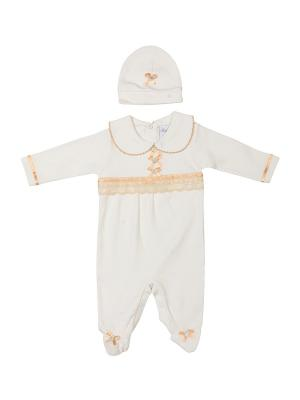 Комбинезон нательный для малыша M-BABY. Цвет: молочный, персиковый