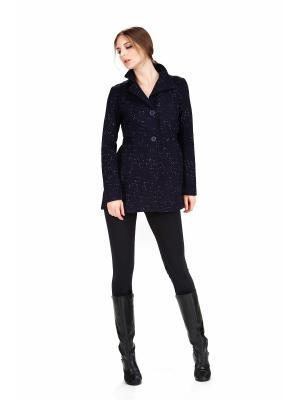 Пальто PAOLA MORENA. Цвет: черный,синий,серебристый