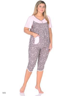 Пижама Magwear. Цвет: коричневый, бледно-розовый