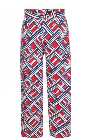Укороченные брюки с принтом и широким поясом Carven. Цвет: красный