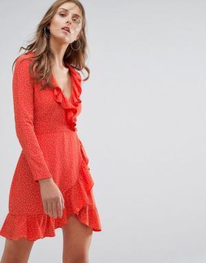 Nobody's Child Платье в горошек с запахом и длинными рукавами Nobodys. Цвет: красный