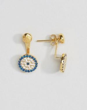 Ottoman Hands Серьги-гвоздики с круглой подвеской в виде глаза Фатимы. Цвет: золотой