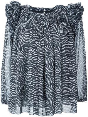 Блузка с волнистым принтом и рюшами Steffen Schraut. Цвет: чёрный