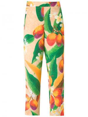 Шелковые брюки Isolda. Цвет: жёлтый и оранжевый