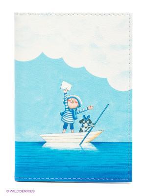 Обложка для автодокументов Мальчик в лодке Mitya Veselkov. Цвет: голубой, белый