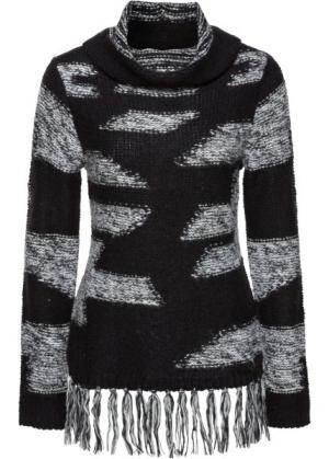 Пуловер с бахромой (черный/светло-серый в горизонтальную полоску) bonprix. Цвет: черный/светло-серый в горизонтальную полоску