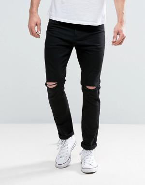 Brave Soul Черные джинсы скинни с прорехами на коленях. Цвет: черный