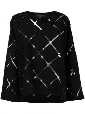 Блузка с ромбовидным узором Federica Tosi. Цвет: чёрный