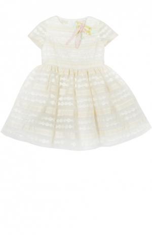 Платье с брошью I Pinco Pallino. Цвет: бежевый