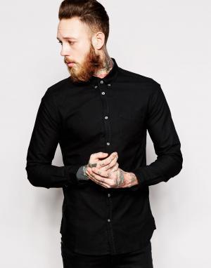 Dr Denim Оксфордская рубашка слим Pete. Цвет: черный