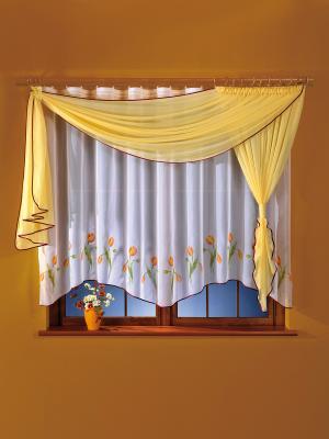 Комплект штор для кухни Wisan. Цвет: белый, желтый, красный