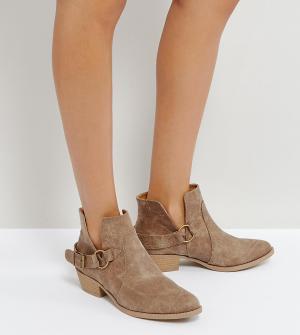 QUPID Ботинки с отделкой в стиле вестерн. Цвет: бежевый