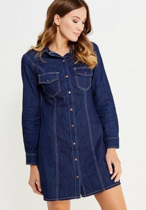 Платье джинсовое oodji. Цвет: синий