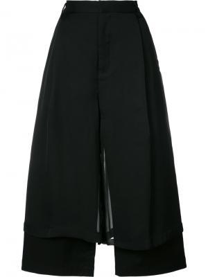 Двухслойные широкие брюки Comme Des Garçons Noir Kei Ninomiya. Цвет: чёрный