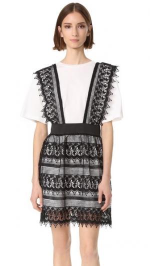 Кружевное платье-рубашка из двух частей ENGLISH FACTORY. Цвет: черный/белый