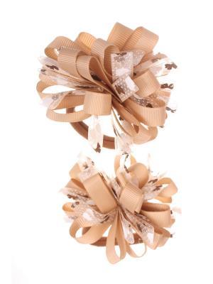 Банты из ленты на резинке в сердечко-бантик, бежевый, набор 2 шт Радужки. Цвет: бежевый