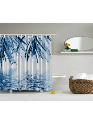 Фотоштора для ванной Голубая хвоя, чёрный олень, ванная с окнами, коричневые птицы , 180x200 см Magic Lady. Цвет: белый, голубой, синий