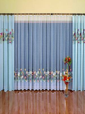 Комплект штор Wisan. Цвет: голубой, белый, зеленый, светло-желтый