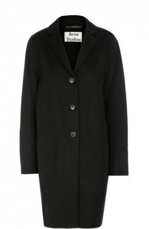 Шерстяное пальто прямого кроя Acne Studios. Цвет: черный