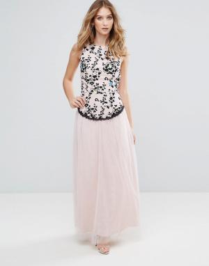 Little Mistress Платье макси с вышивкой и юбкой из тюля. Цвет: бежевый
