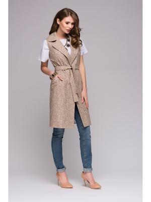 Жилет 1001 DRESS. Цвет: бежевый, светло-бежевый