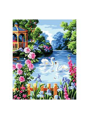 Роспись холста по номерамЛЕБЕДИНОЕ ОЗЕРО КРЕАТТО. Цвет: голубой, зеленый, розовый