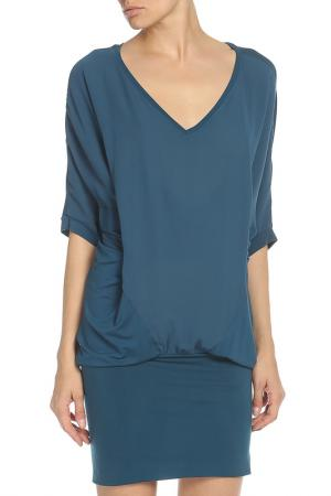 Свободное платье с  V-образным вырезом Liu Jo. Цвет: темно-бирюзовый