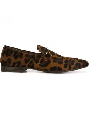 Лоферы Cammello с леопардовым принтом Henderson Baracco. Цвет: коричневый