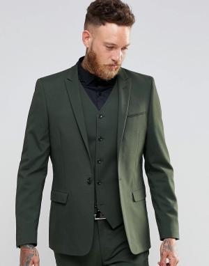 ASOS Пиджак суперзауженного кроя цвета хаки. Цвет: зеленый
