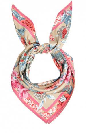 Шелковый платок с принтом Leonard. Цвет: бежевый
