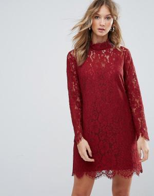 Deby Debo Кружевное платье с высоким воротом Dorothy. Цвет: оранжевый