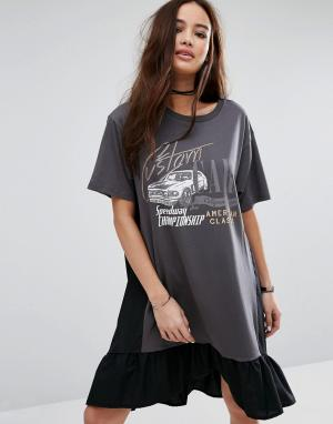 Pull&Bear Платье-футболка с принтом логотипа и оборкой. Цвет: черный