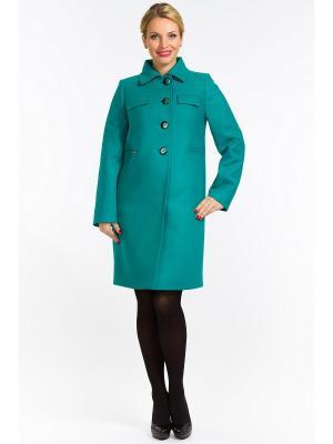 Пальто GallaLady. Цвет: бирюзовый