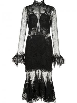 Прозрачное платье с оборочным подолом Jonathan Simkhai. Цвет: чёрный