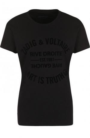 Однотонная хлопковая футболка с круглым вырезом Zadig&Voltaire. Цвет: черный