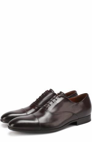 Классические кожаные оксфорды W.Gibbs. Цвет: темно-коричневый