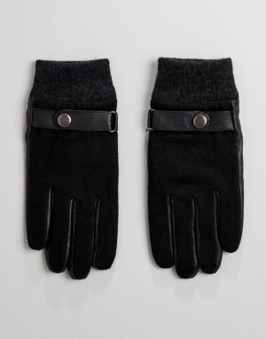 Peter Werth Черные кожаные перчатки с цигейкой. Цвет: черный