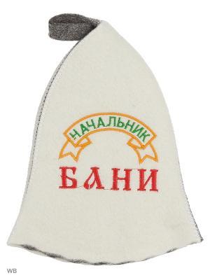 Шапка для бани с вышивкой в косметичке Начальник Метиз. Цвет: белый, серый