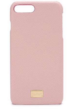Кожаный чехол для iPhone 7 Plus Dolce & Gabbana. Цвет: светло-розовый