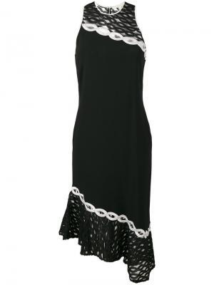 Платье с вышивкой и спинкой-рейсер Jonathan Simkhai. Цвет: чёрный