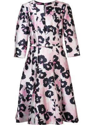 Расклешенное платье с цветочным рисунком Oscar de la Renta. Цвет: розовый и фиолетовый