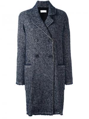 Двубортное пальто P.A.R.O.S.H.. Цвет: синий