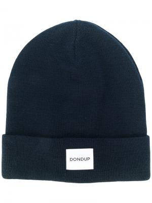 Трикотажная шапка с заплаткой логотипом Dondup. Цвет: синий