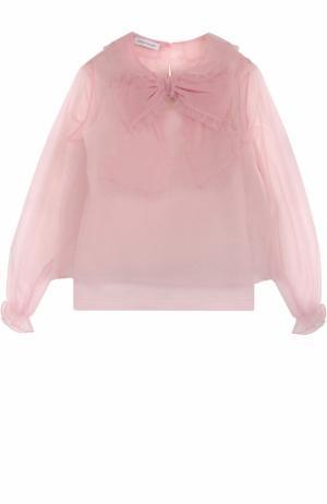 Полупрозрачная блуза с бантом и оборками I Pinco Pallino. Цвет: розовый