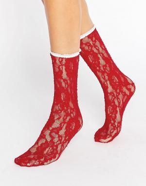 Gipsy Кружевные носки. Цвет: красный