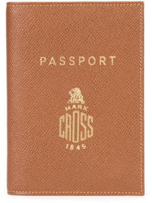 Обложка для паспорта с тисненым логотипом Mark Cross. Цвет: коричневый