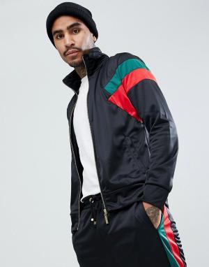 Criminal Damage Черная обтягивающая спортивная куртка. Цвет: черный