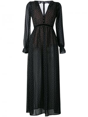 Длинное платье с узором в горох For Love And Lemons. Цвет: чёрный