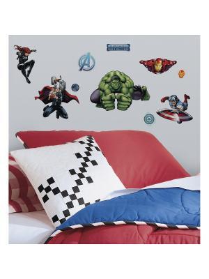 Наклейки для декора Мстители : персонажи ROOMMATES. Цвет: белый, черный, синий, зеленый, серый, голубой, красный, оранжевый, желтый